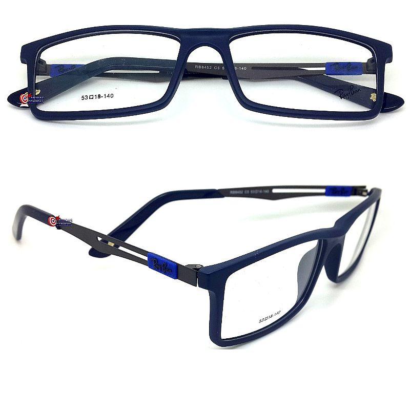 69a8a37bd Armacao óculos de grau ray ban 8452 haste titanio
