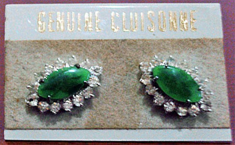 Brinco Com Strass Pedra Verde (Genuine Cluisonne),     10mm x 15mm x 5mm