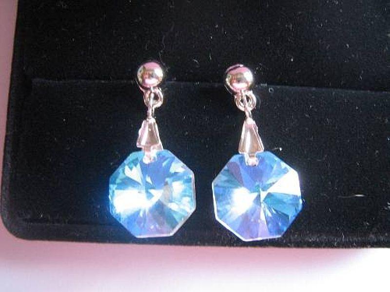 Brinco Cristal Swarovski Castanha Blue Aurora Boreal