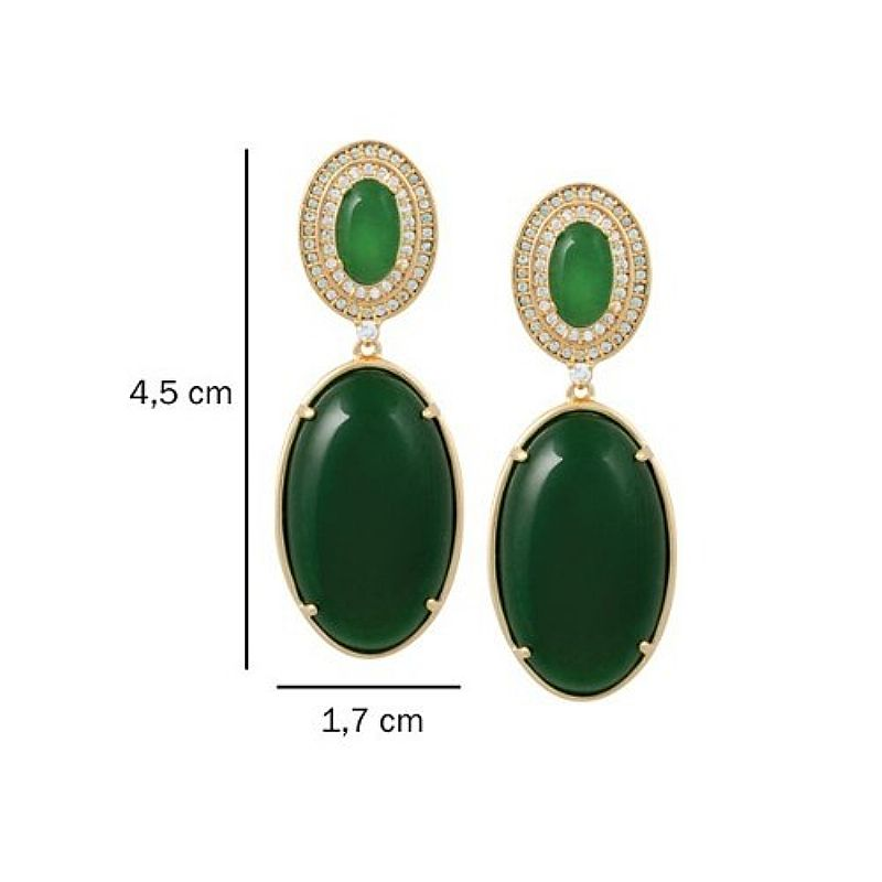 Brinco Cristal Verde Oval Com Zircônias Semijoia Bruna