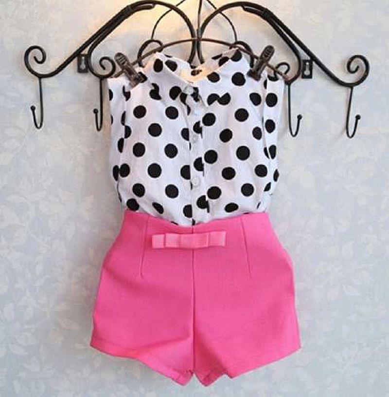 Conjunto Vestido Luxo Menina Infantil Bolinhas Regata  Short