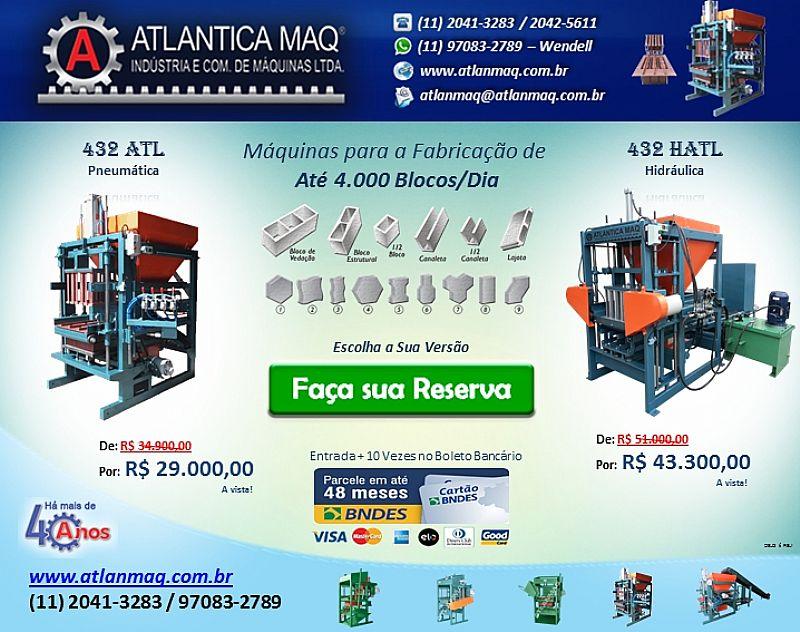 Maquina de Blocos de Concreto,   Maquina para Blocos de Concreto,   Pneumatica Ou Hidraulica