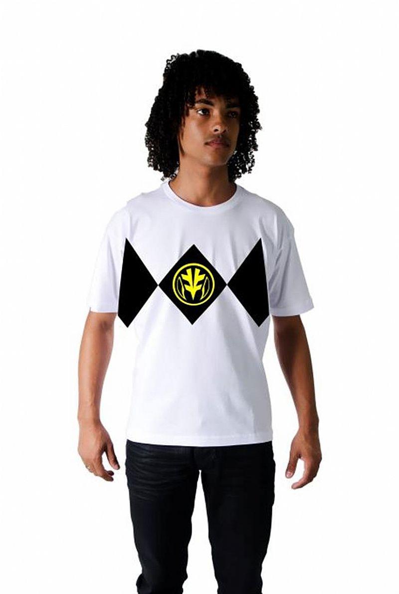 Camiseta Power Rangers Branco Customizada Algodao