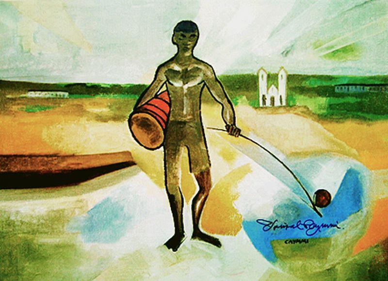 Homem com Atabaque e Berimbau,  Obra de Dorival Caymmi,  2 Medidas