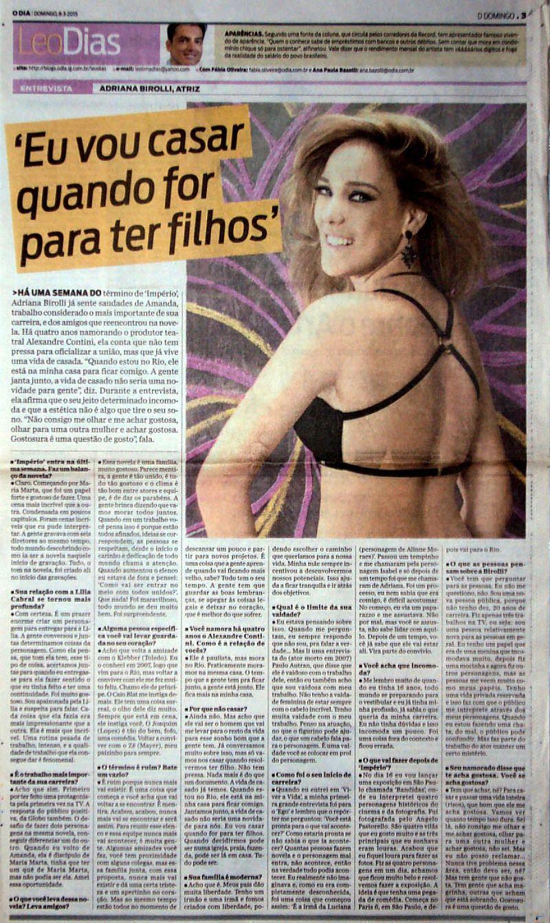 Adriana Birolli,   Eu Vou Casar - Entrevista e Estava Todo Mundo