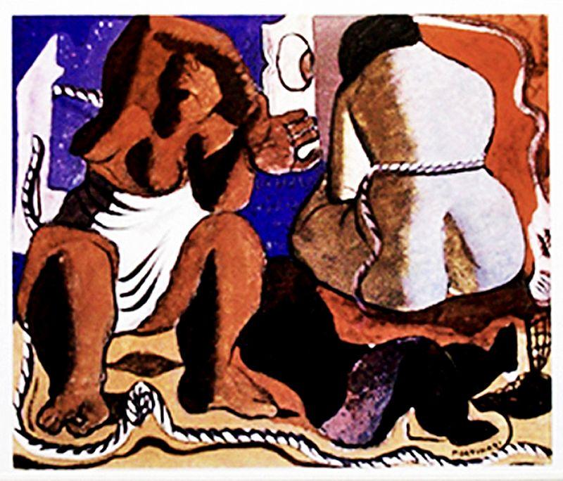 Duas Mulheres,  Composicao,  Figuras e Cordas,  Quadro do Artista Candido Portinari 1938