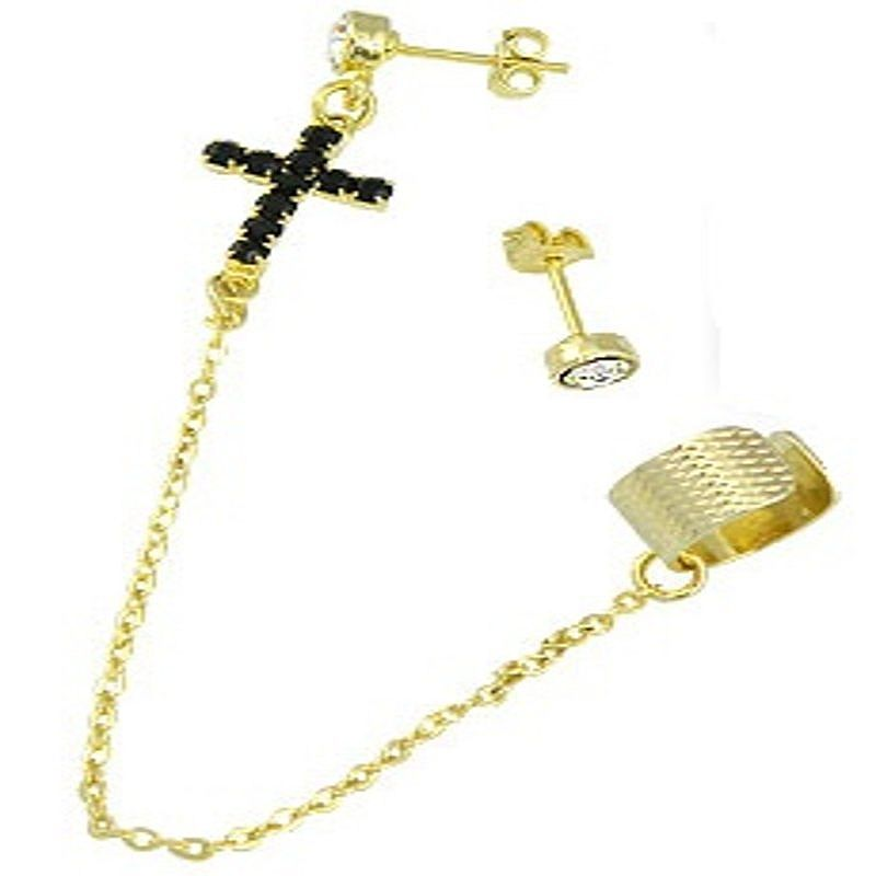 Brinco EAR CUFF folheado a ouro contendo uma cruz toda em strass e correntinha.