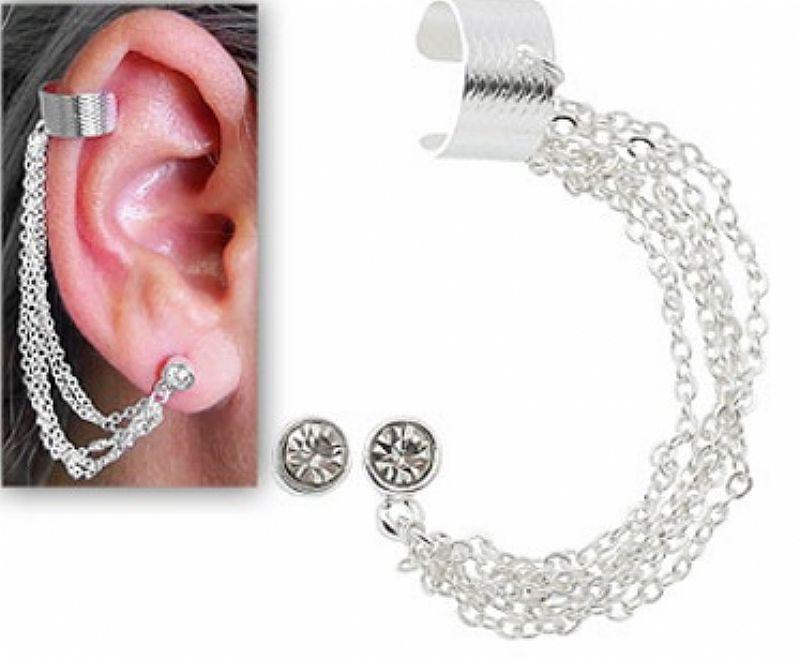 Brinco EAR CUFF folheado a prata contendo quatro correntinhas e pedra de strass