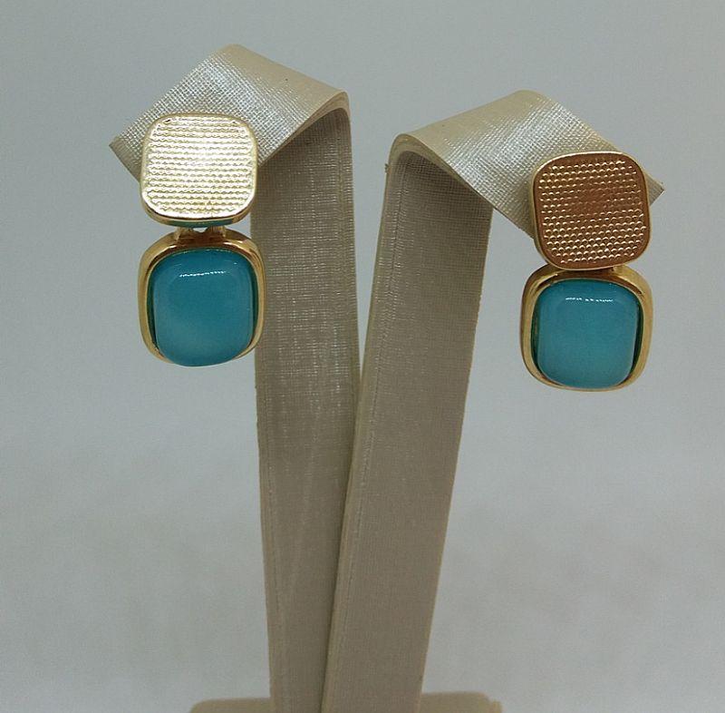 Brincos De Pedra Agata Azul Natural Folheado A Ouro 18 K