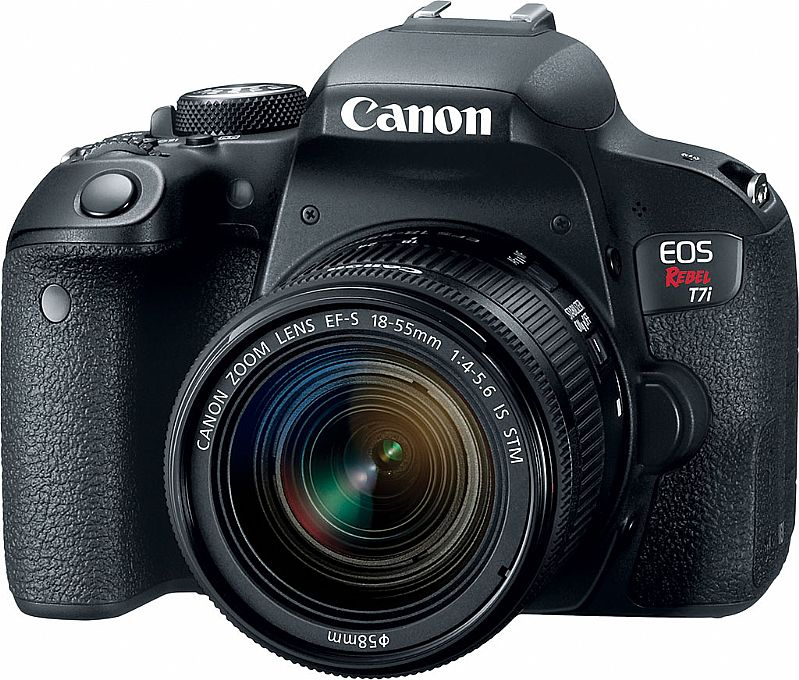 Camera Canon T7i c/ 24.2 MP, Wi-Fi,  NFC,  Filma em Full HD e Lente 18-55mm