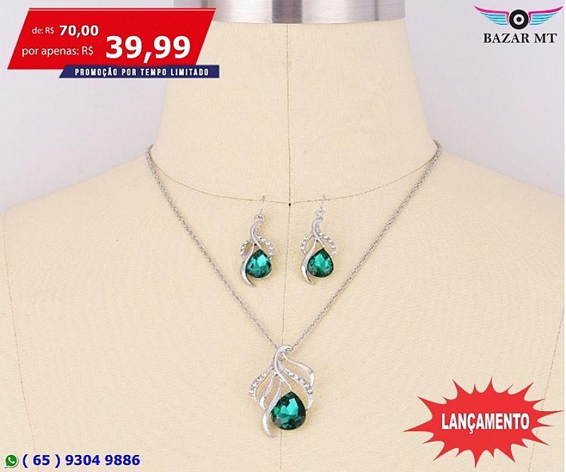 Bazar mt - lindissimo conjunto de colar e brincos feminino ( cuiaba )