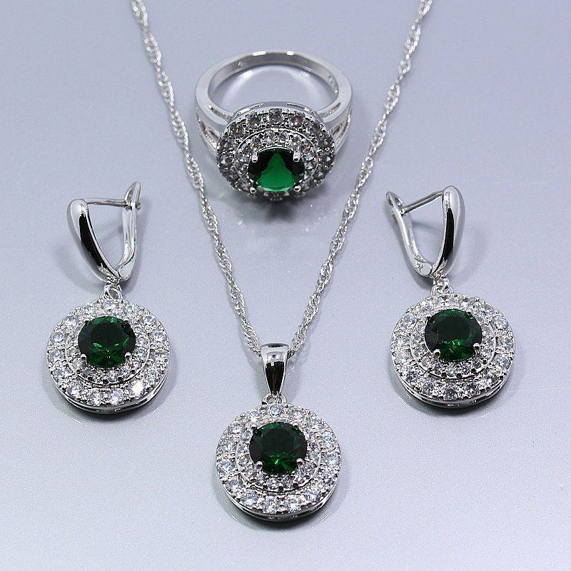 Conjunto colar brinco anel feminino banho prata 925 anel 6