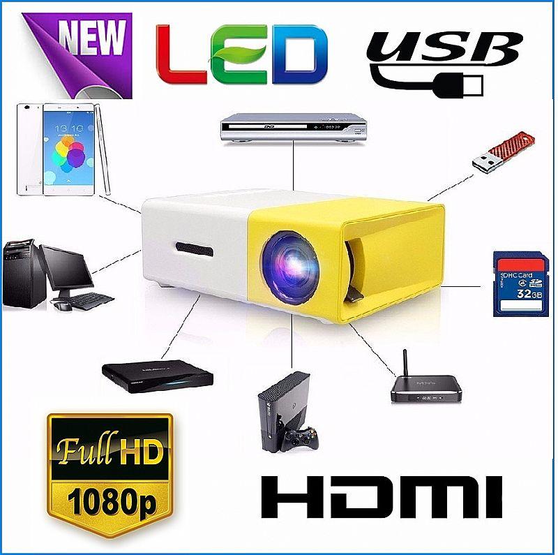 Mini projetor yg-300 portatil led suporte 1080p 400 - 600 lumens