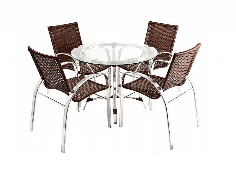 Jogo de mesa fabricado em aluminio revestido com fibra sintetica