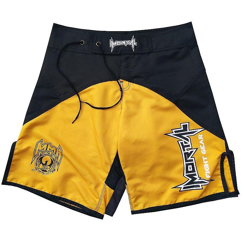 Short mma bermuda submission calcao jiu jitsu preto amarelo