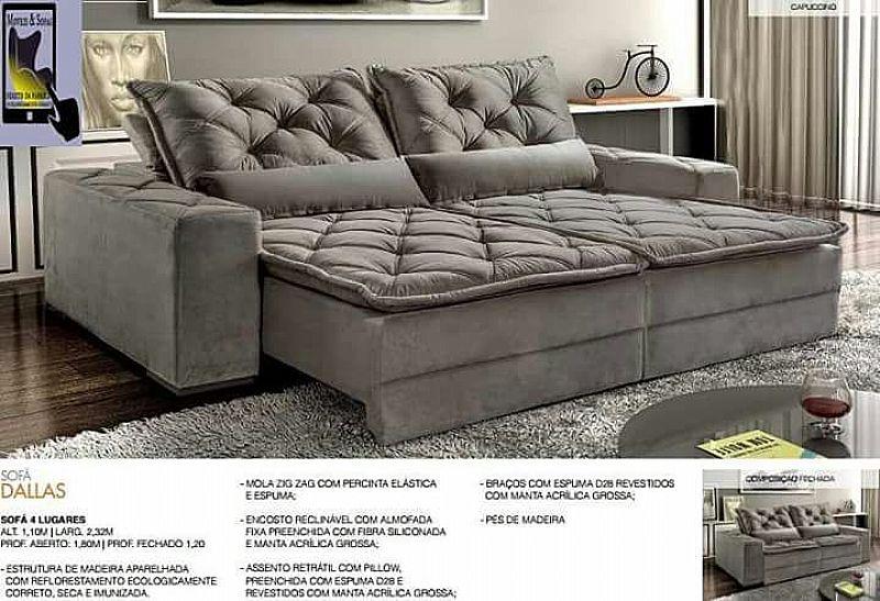 Sofa retratil e reclinavel 4 lugares sala de estar tecido suede
