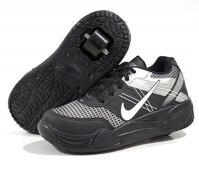 Tenis infantil de rodinhas nike roller preto e prata