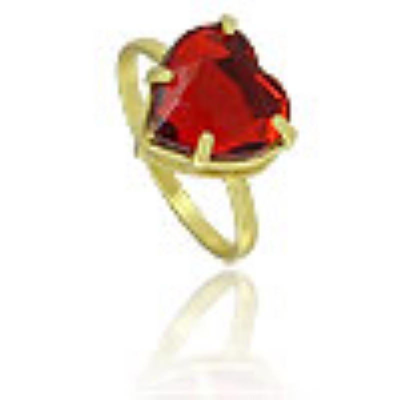 Anel folheado a ouro c/ pedra acrilica vermelha em forma de coracao