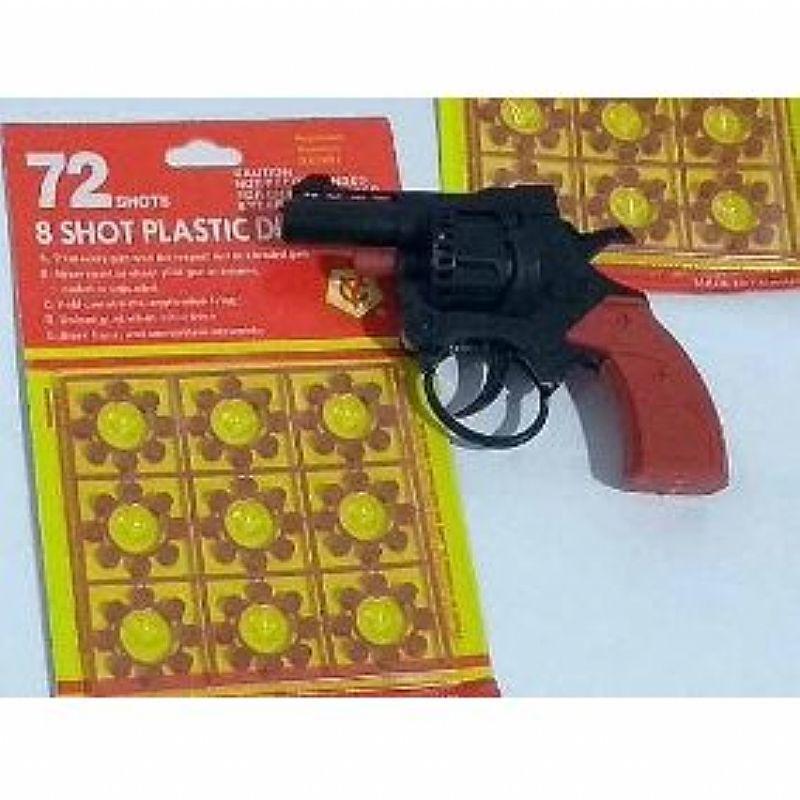 Kit arma 1 revolver de brinquedo   2 cartelas de espoletas