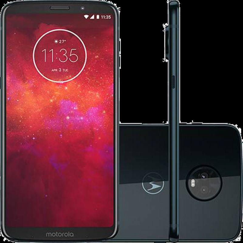 Smartphone motorola moto z3 play 64gb índigo - dual chip 4g cam. 12mp e 5mp   selfie 8mp tela 6