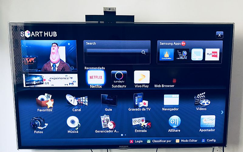 Tv led 3d smart samsung full hd serie 6000,   com camera,   46