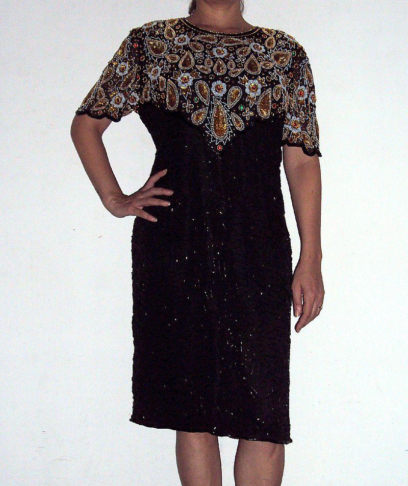 Vestido social luxo bordado da maison laurence kazar/ny