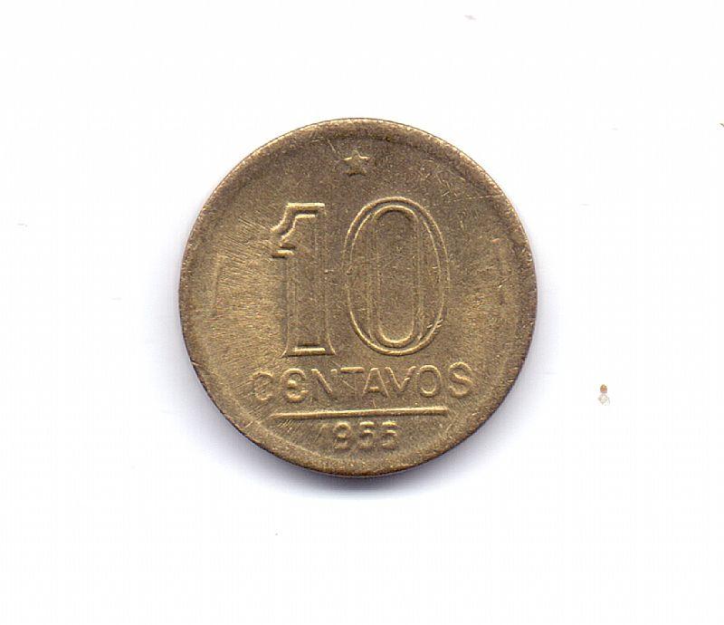 Moeda do brasil de 10 centavos de 1955.- 274 -