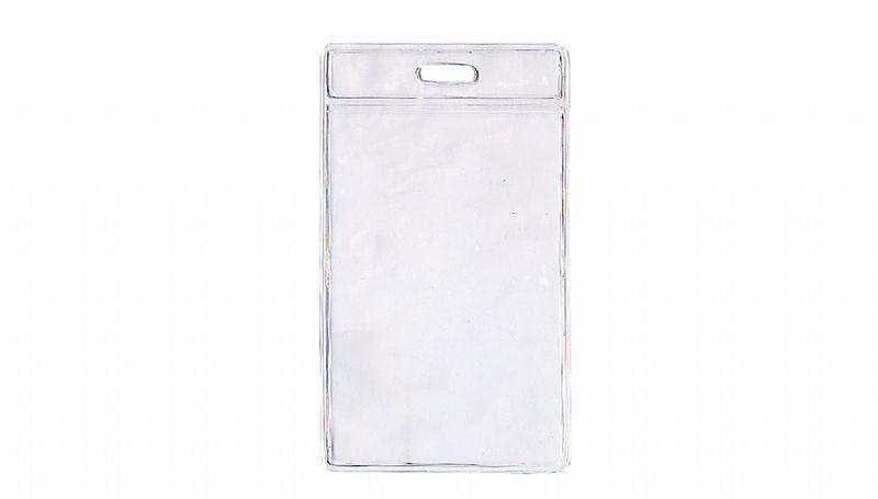 Protetor porta cracha,  bolsa de pvc cristal,  vertical.
