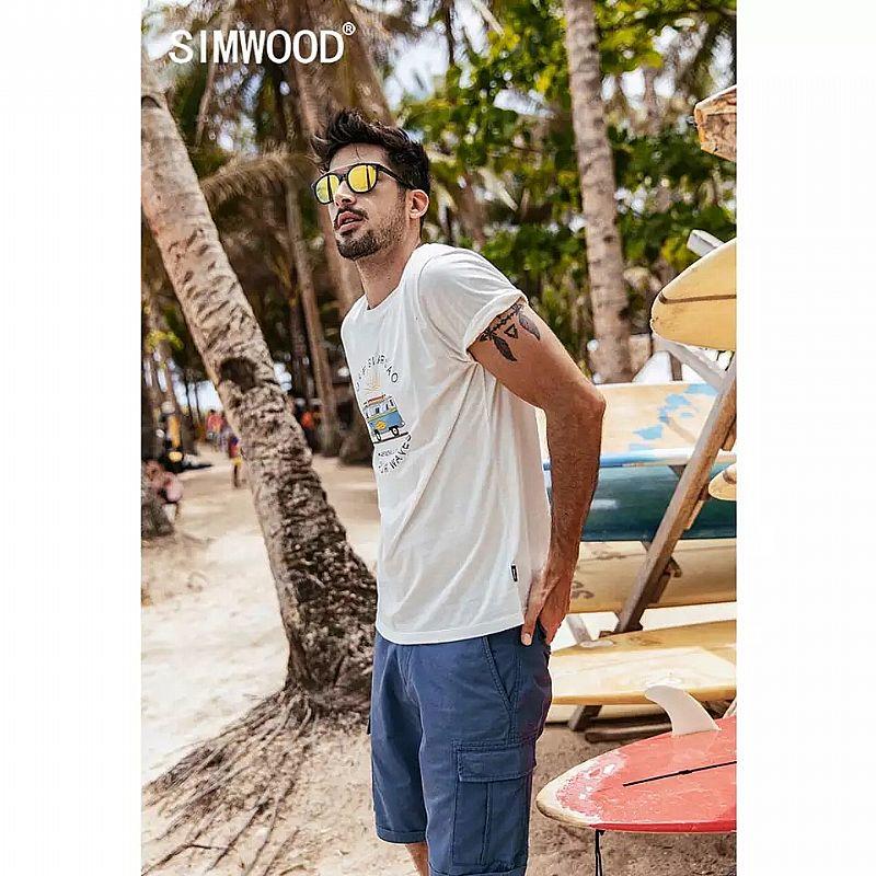 Camiseta Simwood 2019 verao novo engracado caixa ônibus de impressao t shirt homens 100% algodao tshirt respiravel fina ferias estilo top t-shirt 190337