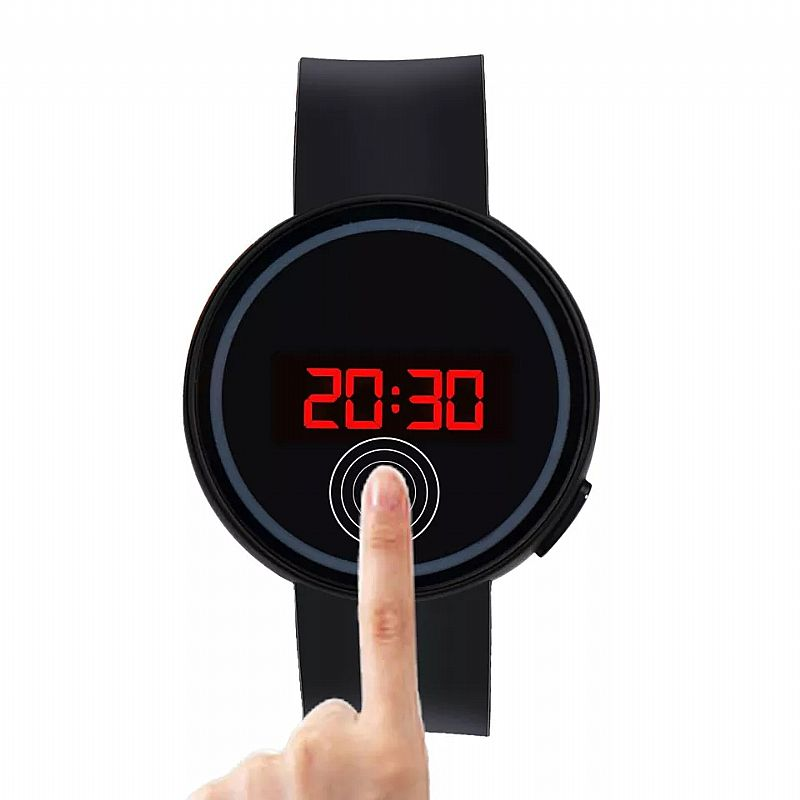 Relógio Tempo zero 501 novo das mulheres dos homens do relogio de pulso do esporte relogio touch screen led data de pulso do silicone relogio preto simples solidos freeshipping