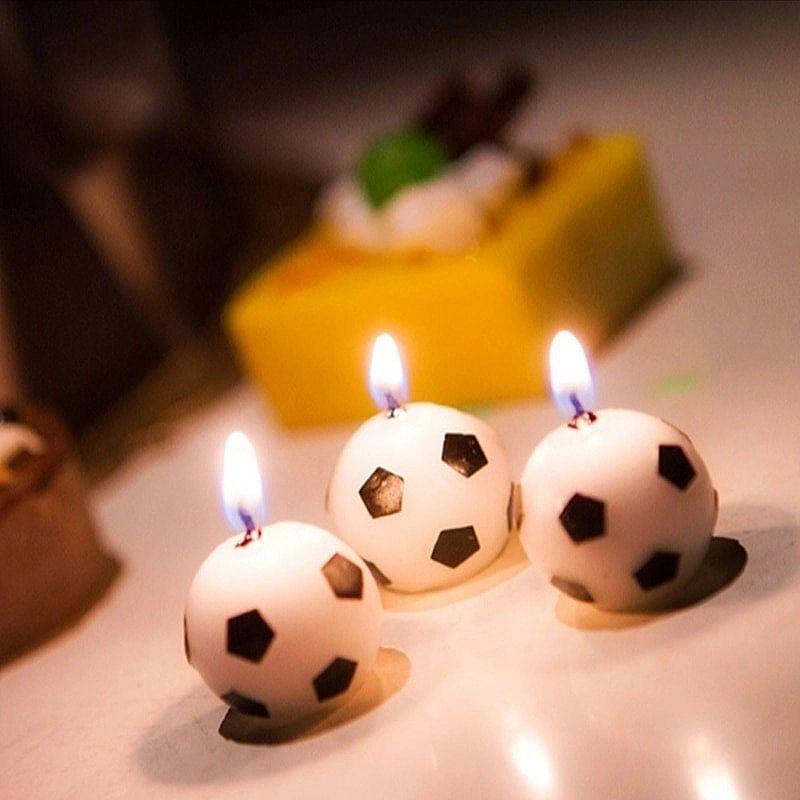 Vela de bola de futebol mais novo 6 pcs / set coes velas do bolo da festa de aniversario de futebol bola de futebol suprimentos ferramenta