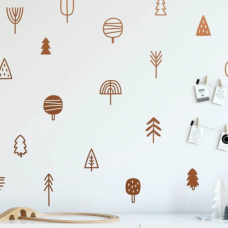 Papel de Parede  Bonito floresta de pinho árvore decalques da parede do bercario art decor vinil floresta adesivos de parede quarto dos miudos decoracao natural