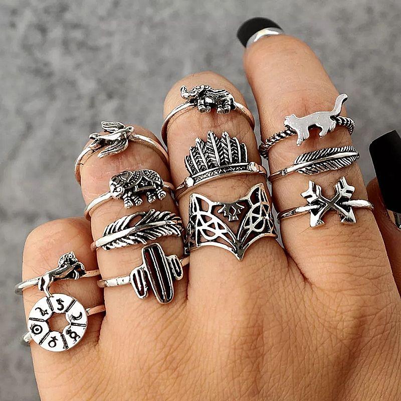 Anel Tempo zero 501 2019 new fashion 12 pc definir mulheres do punk do vintage aneis da junta do dedo conjunta anel de presente da joia de luxo hot frete gratis