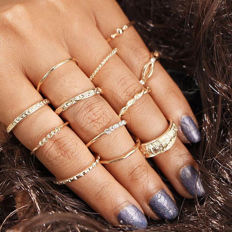Anel tempo zero 501 2019 moda 12 pcs/set mulheres bohemian vintage aneis pilha de prata acima knuckle aneis azuis conjunto de luxo livre gratis