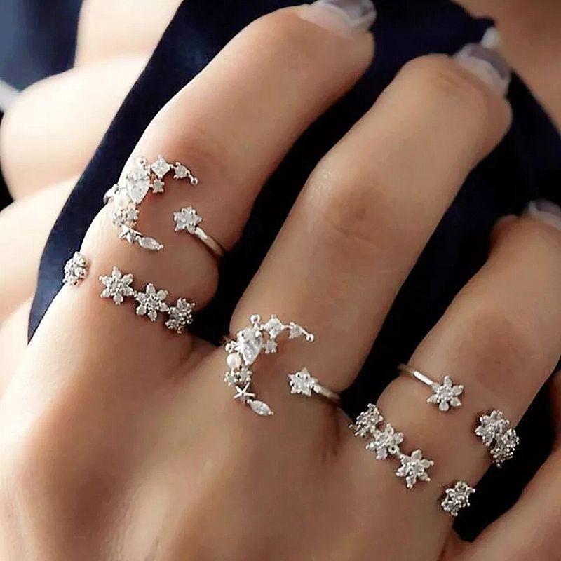 Anel estrela e lu aprata  para as mulheres aneis 5 set new bohemian mulheres liga aneis de dedo da forma da estrela da lua do vintage punk anillos mujer aneis venda 10