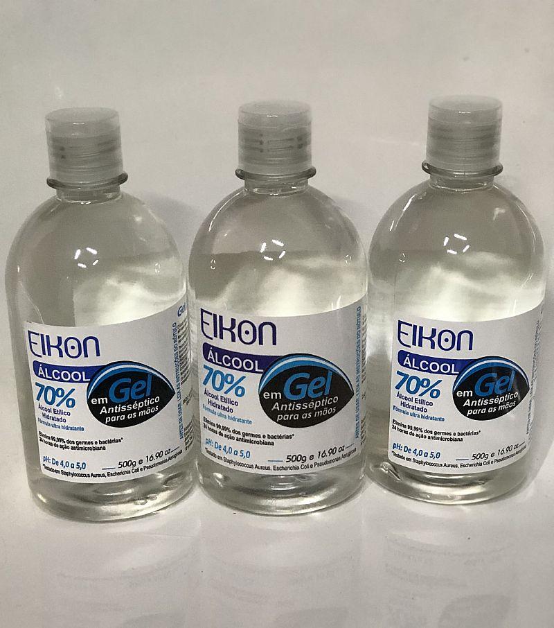 3 alcool gel elkon 70% antisseptico bactericida mao 500g