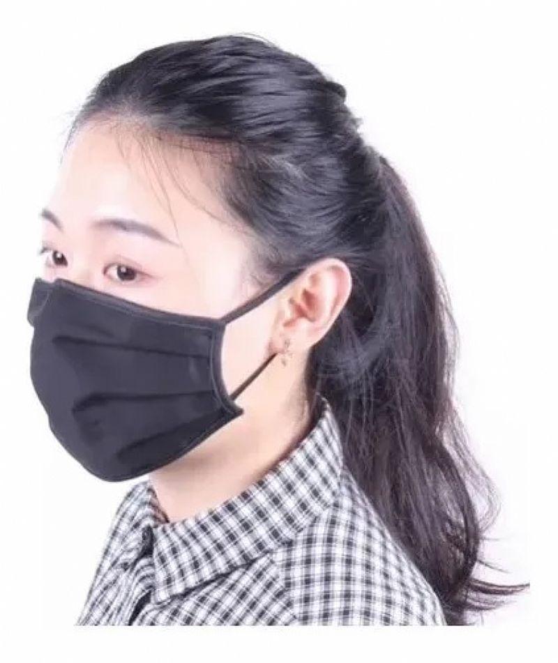 Mascara preta higiênica para proteção de vírus e bactérias para proteção facial boca nariz tecido lavavel