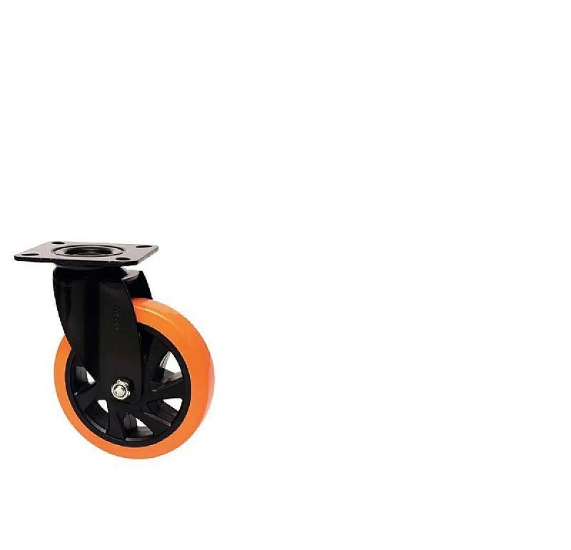 Rodinha de borracha Cikala para moveis rodizio giratoria 6 preto c/ placa roda bp serie 14 black