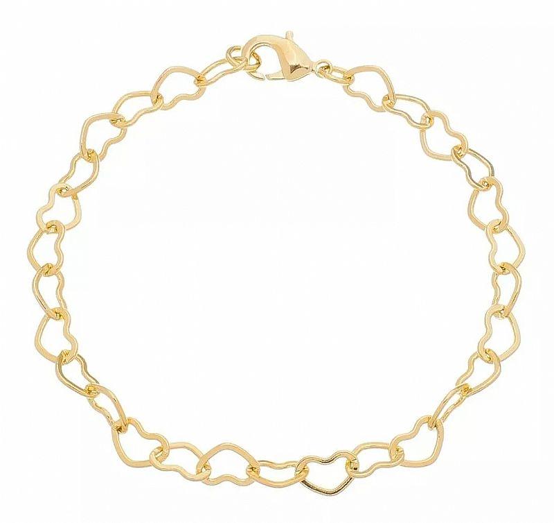 Pulseira feminina coracao 18cm banhada á ouro 18k pulseira feminina coracao 18cm banhada á ouro 18k