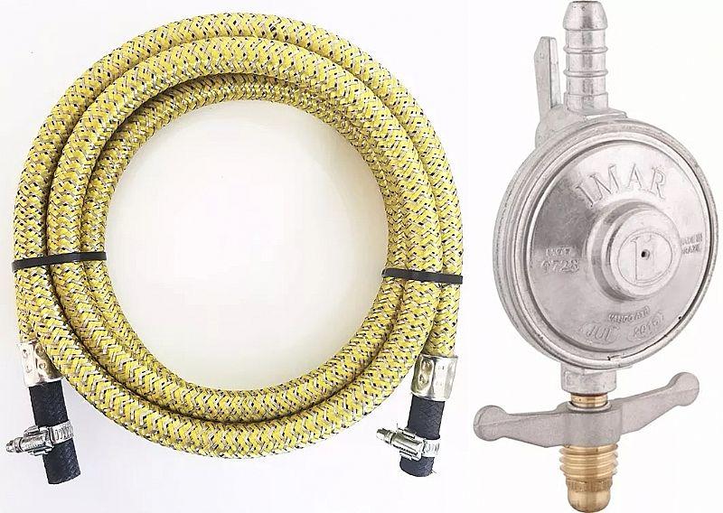 Mangueira gas glp 1, 20 mt botijao trancado aco inox registro marca luciflex modelo man inox 1, 2mt regulador