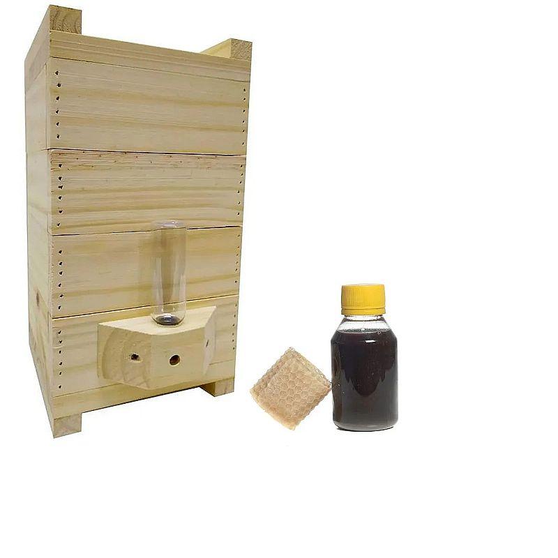 Caixa para abelha jatai com alimentador roso   feromonio      marca loja das abelhas     material madeira