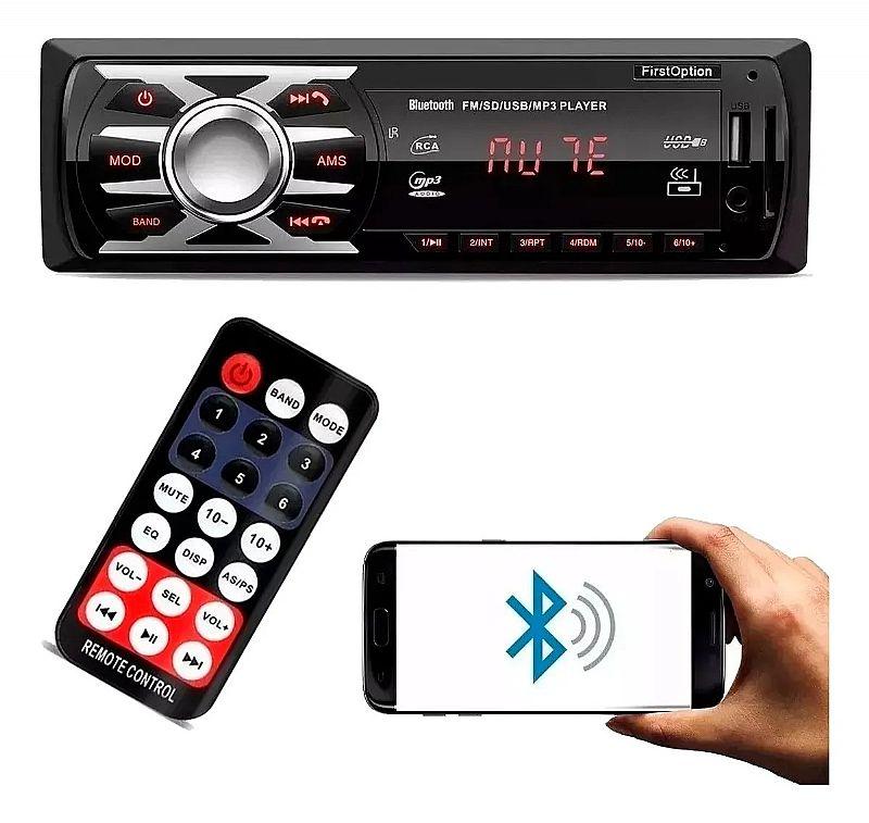 Som mp3 player automotivo usb aux radio micro sd marca first option modelo 6680