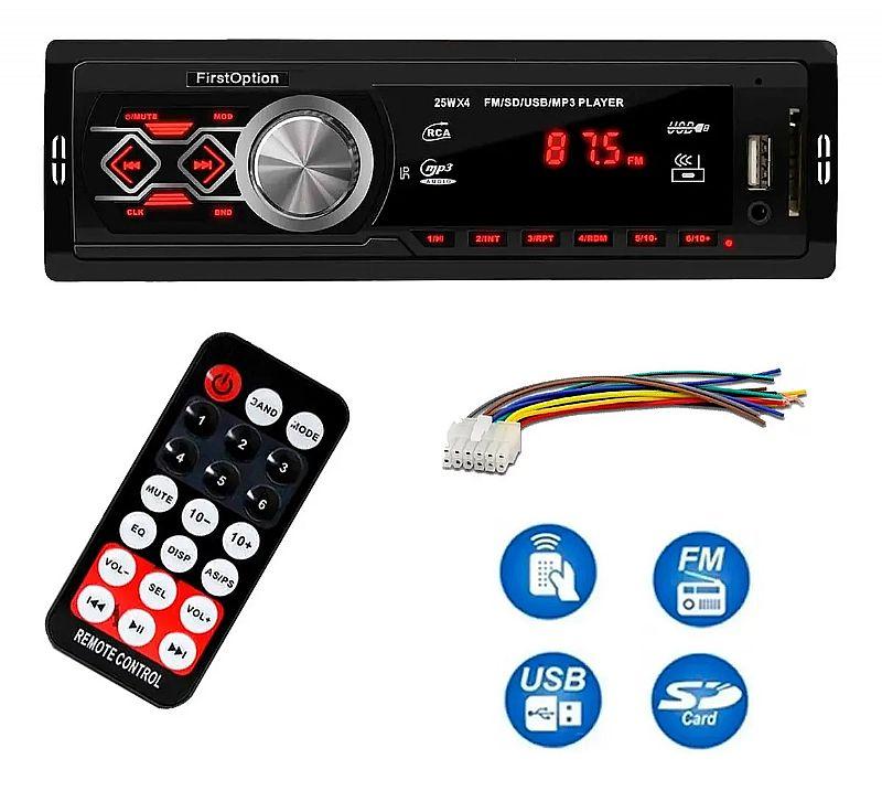 Auto radio mp3 player novo marca first option modelo 6330