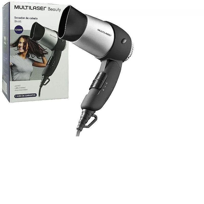 Secador cabelo portatil viagem ar quente 1200w beauty bivolt  marca multilaser modelo eb01 preto/prata bivol