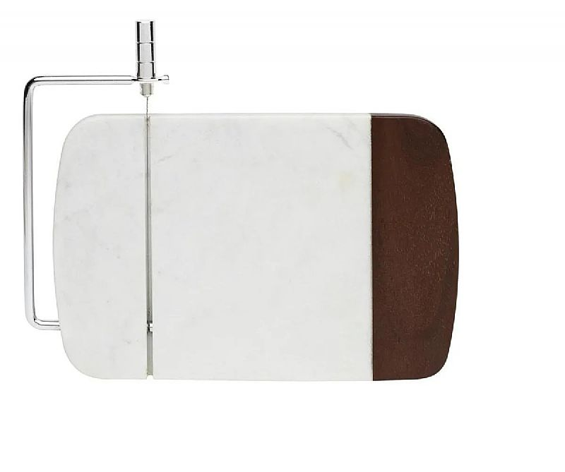 Fatiador para frios oxford,  madeira e marmore branco - 69673  marca oxford modelo 69673