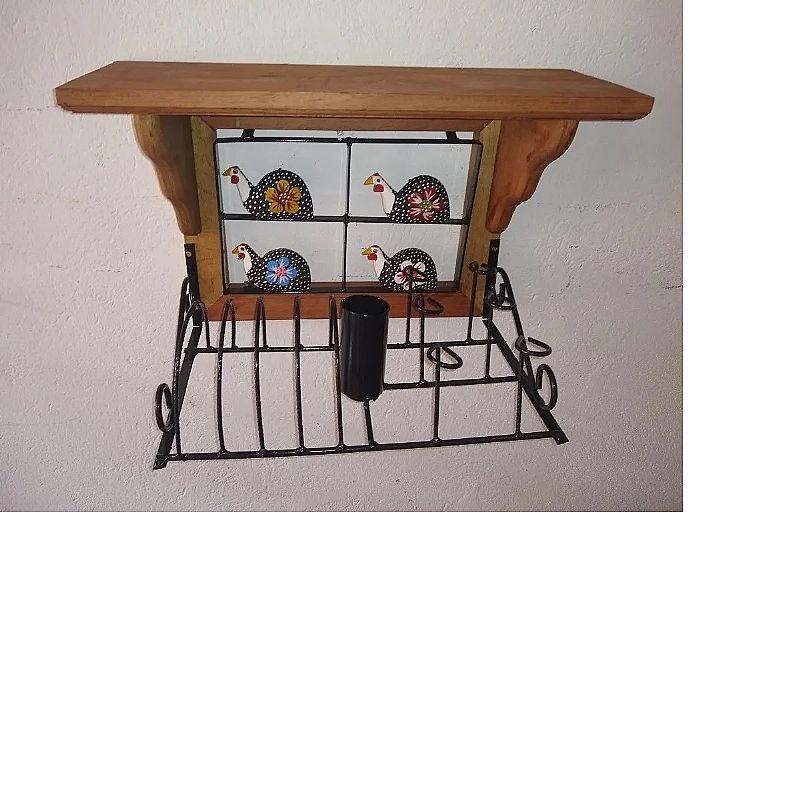 Paneleiro rustico em madeira escorredor   brinde