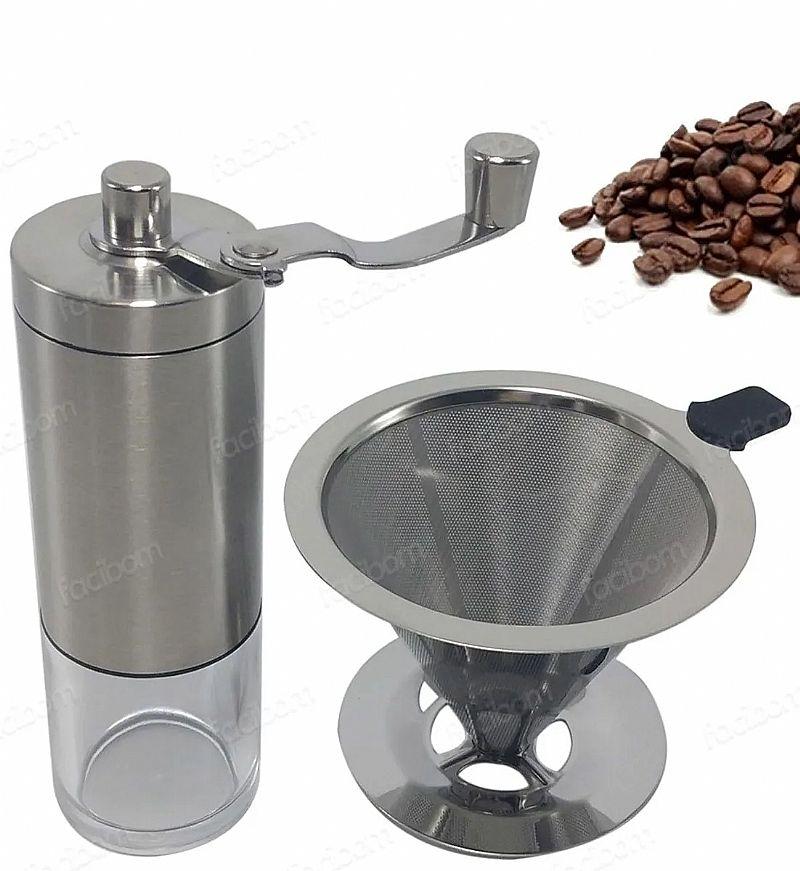 Moedor de cafe e coador filtro em inox regulagem de grao       marca facibom     modelo kit cafezinho pratico