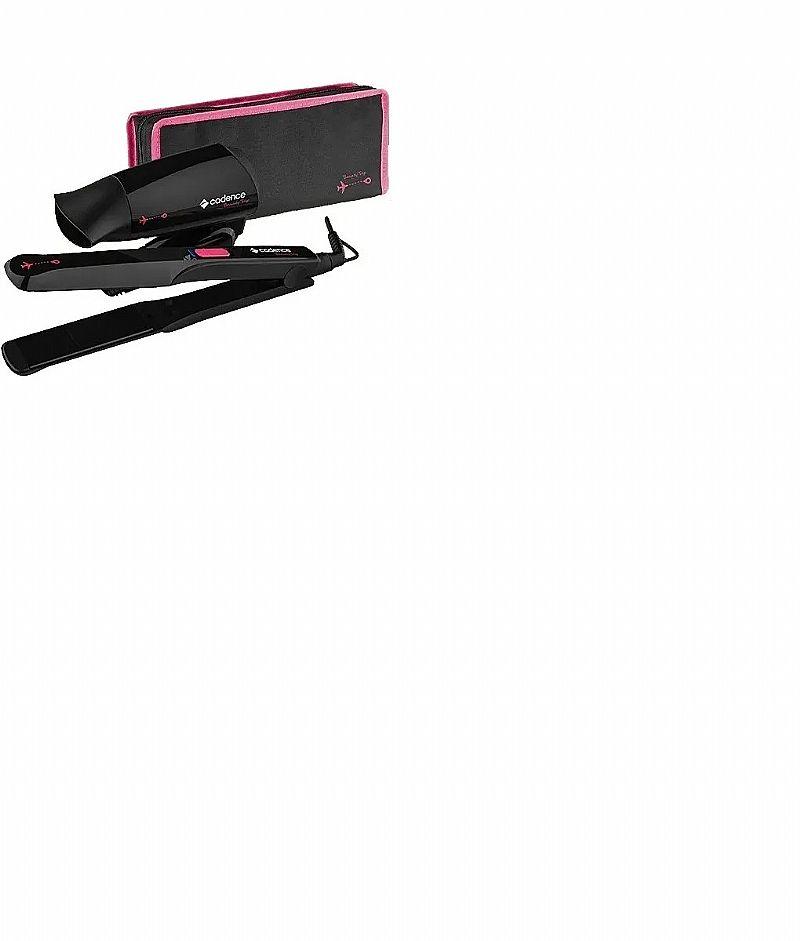 Kit secador e prancha alisadora cadence necessaire de brinde       marca cadence     modelo beauty trip