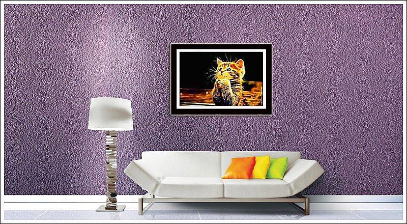 Quadro Com Poster Gato Digital e Moldura  70 X 50 cm
