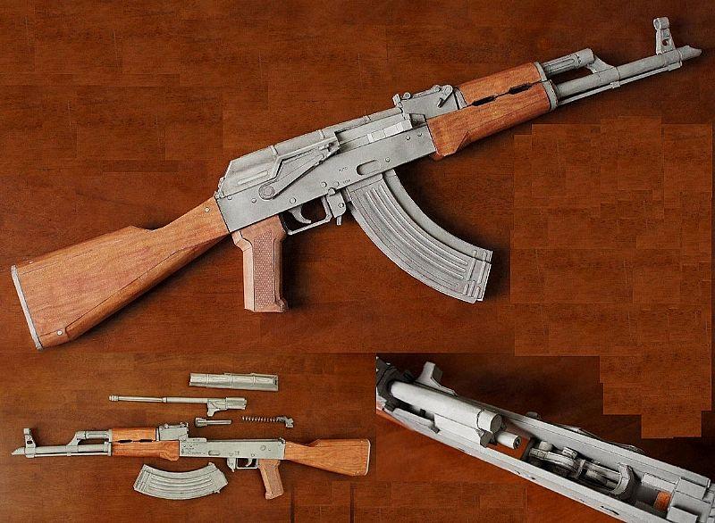 Curso Armas de papel m4 ak47 1911 tamanho 1/1 airsoft paintball